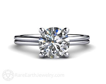 Platinum Solitaire Engagement Ring Moissanite Engagement Ring Conflict Free Diamond Alternative