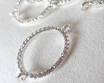 5pc Rhinestone Silver Connector Linking Rings, Large Oval, 26mm x 22mm (measurement does not include loops)