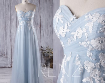 Light Blue Bridesmaid Dress with White Lace, Sweetheart Tulle Wedding Dress, Strapless Prom Dress Long, Evening Gown Floor Length(LS147)