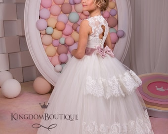Ivory Flower Girl Dress - Bridesmaid Birthday Wedding Party Holiday Ivory Lace Tulle Flower Girl Dress 14-673