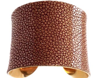 Peanut Butter Brown Polished Stingray Gold Lined Cuff Bracelet - by UNEARTHED