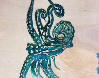 Custom Metal octopuss Wall Art - Green