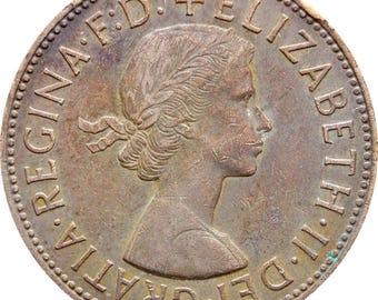 1966 One Penny Elizabeth II United Kingdom Coin 1st portrait