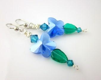 Blue Butterfly Dangle Earrings, Drop Earrings, Crystal Earrings, Beadwork Earrings, Gifts, Fashion Jewelry, Career Wear, Valentine Day