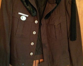 Piper-Military Field Jacket with Vintage Rhinestone buttons, bullion style epaulettes, Rhinestone bar pin and Vintage Procter & Gamble Pin
