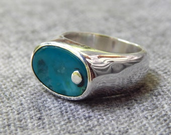 Gem Silica Chrysocolla and Sterliing Silver Ring