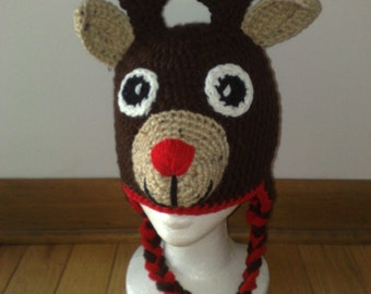 Crochet Reindeer Hat, Reindeer Hat, Rudolph the Red Nosed Reindeer, Crochet Rudolph Hat, Newborn Reindeer Hat, Any size is available