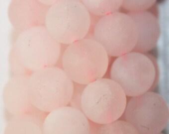 "Matte Rose Quartz Beads - Round 8 mm Gemstone Beads - Full Strand 15 1/2"", 48 beads, A Quality"