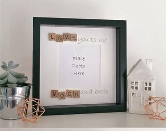 Scrabble frame, photo frame, picture frame, birthday gift, anniversary gift, newborn gift