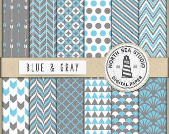 BUY5FOR8 Blue And Gray Digital Paper Gray Blue Paper Blue Patterns Gray Backgrounds Digital Scrapbooking 12 JPG 300 DPI Files Download