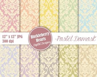 Digital Damask, Damask Digital Paper, Pastel Damask