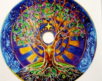 3 Tree of Life Mandala Stickers - Series of 3 -Original Hand drawn Illuminated  Mandalas - Decals Sticker- 3 inch