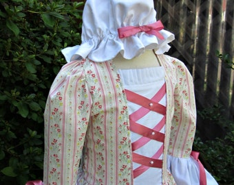 Girls Colonial Dress Williamsburg Felicity Costume./PLEASE read full details in ad.