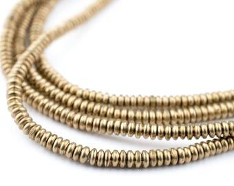 480 Brass Heishi Beads: Ethnic Metal Beads Metal Spacer Beads Rustic Brass Beads 3mm Brass Beads Heishi Shaped Beads (MET-HSH-BRS-523)