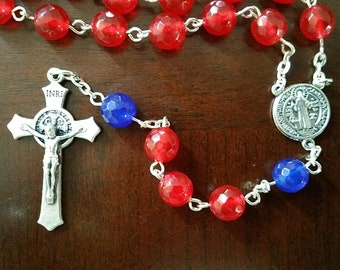 Hand-crafted Natural Ruby and Sapphire Rosary - July Birthstone