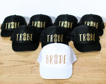 Bride and Tribe Pineapple Trucker and Baseball Hats - Bachelorette Party Pineapple Hats - Bride and Bridesmaids Hats - Wedding Party Hats