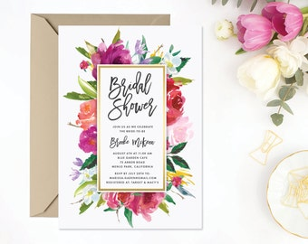 Printable Watercolor Bridal Shower Invitation | Floral Shower, Digital Invite, Spring Wedding, Customizable