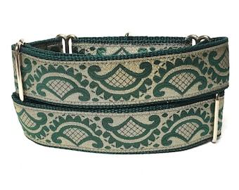 martingale, dog collar, EMPEROR'S ROBE, metallic dog collar, Safety Collar, Greyhound Collar, Sighthound Collar, green, gold