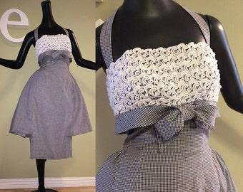 Incredible 1950s Rockabilly Dress! 50s Bombshell Pin Up Halter Dress Double Tier Skirt -- Peplum & Pencil Skirt Black White Gingham Check M