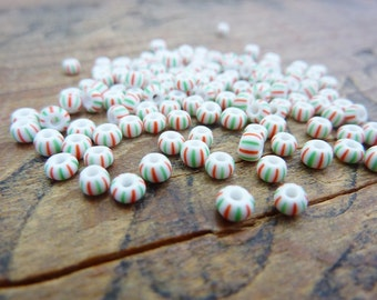 Glass Bead Trade Bead Vintage Striped Seed Beads Size 8 Czech (100) SB1081
