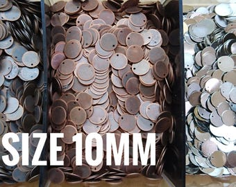 250 pcs, 10mm brass sequin, stamping tag, thin metal disc *Clearance*