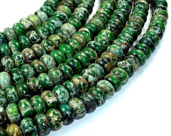 Impression Jasper Beads, Green, Rondelle, 6 x 10 mm, 15.5 Inch, Full strand, Approx 65 beads, Hole 1 mm (281053001)