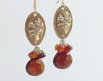 Fine Silver Leaf Earrings - Chalcedony and Hessonite Earrings - Fine Silver Oak Leaves -  Orange Chalcedony - Fine Silver Dangle Earrings