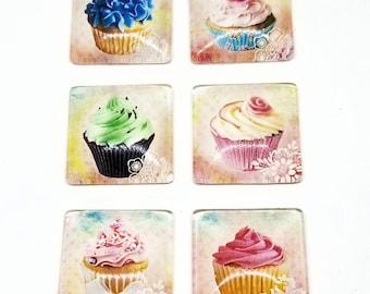 Cupcake Magnets | Fridge Magnets | Refrigerator Magnets | Food Cupcakes | Glass Tile Magnets | Housewarming Gift | Shower Gift