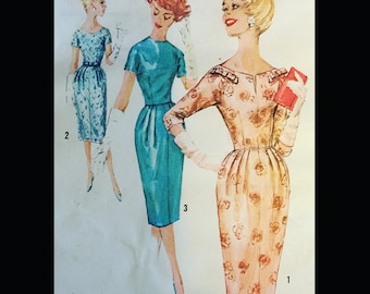 Vintage 50s Sexy Fitted Sheath Wiggle Dress Bow Trim 2726 B34