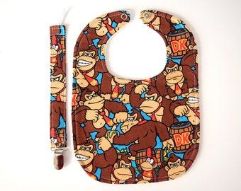 Donkey Kong Baby Bib with Pacifier Clip Nintendo  Super Mario Characters Baby Gift Set