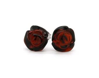 Flower Earrings - Rose Earrings - Rose Stud Earrings - Baltic Amber Earrings - Amber Earrings - Flower Jewelry - Gift For Her -DO-158