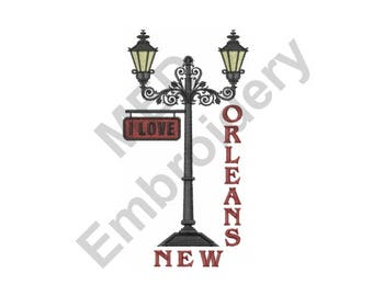 Lamp Post  - Machine Embroidery Design, I Love New Orleans