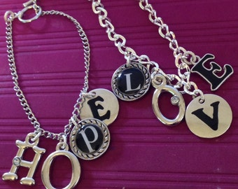 Charm bracelet- LOVE. Love bracelet.  Love jewelry. Charm jewelry. Love charm bracelet. TBFB0508