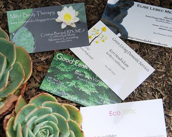 100 business cards - 18 pt 100% recycled paper uncoated cover stock environment-friendly - custom printed