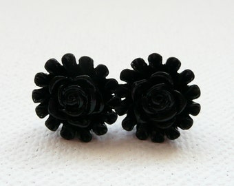 ns-Black Rose Center Flower Stud Earrings