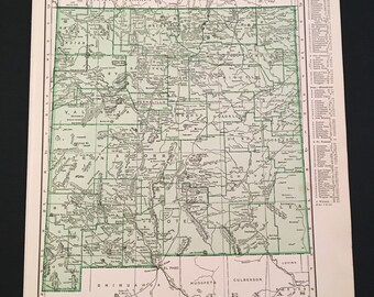 Vintage Map of New Mexico, Original 1937 Map by Rand McNally, Green State Map