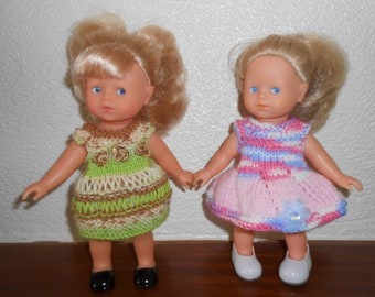 Doll clothes (2 outfits) mini corolline Corolla-20 cm - a knitted green anise/bronze one pink/blue