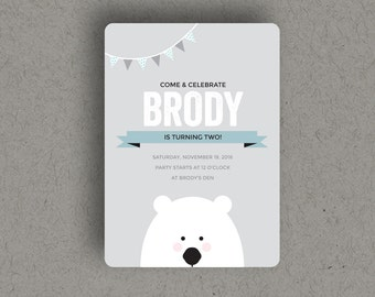 CUSTOM POLAR BEAR Invitation for birthday party that is a printable, digital download file invite.