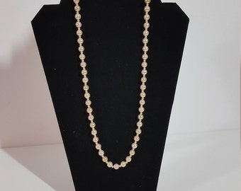 Faux Pearl Necklace, Champagne Color, Single Strand, Vintage Fashion Jewelry