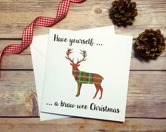 Scottish happy birthday card tartan card golden and tartan scottish christmas card stag tartan card handmade christmas card tartan greeting card m4hsunfo