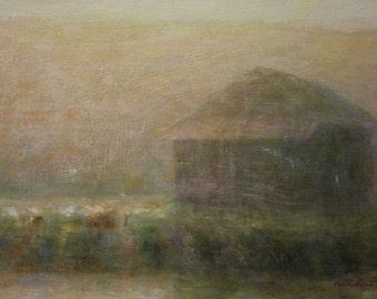 A shack in the dawn