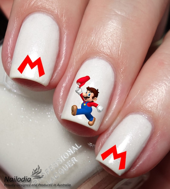 Super Mario Nail Art Sticker Water Transfer Decal 100 from Nailodia ...