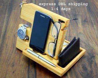 Docking station, Wooden phone stand, Desk organizer, Anniversary Gift for Men, Wood organizer, Phone holder