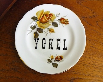 Yokel hand painted vintage china bread and butter plate with hanger recycled hillbilly/hick decor