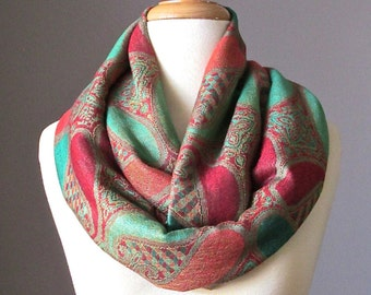 Green Turquoise infinity scarf, Pashmina shawl, Spring scarf, Wedding shawl, Womens Scarf, Gift for Her Wife Girlfriend
