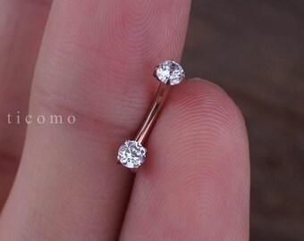 Daith earring Daith piercing 16g Rook earring Rook piercing Eyebrow ring Snug piercing Rose Gold Curved Bar 6mm 8mm