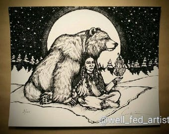 "Digital Print. ""Grizzly Woman."" 8x10 inch.  UNFRAMED. 110lb paper. Signed and numbered. Bear art. Goddess art. Warrior Art."