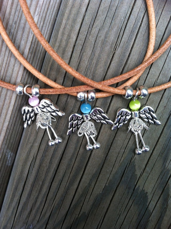 LEATHER NECKLACE little ANGEL pendant pink, blue or green