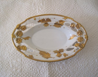 Victorian Porcelain Bowl Dish White with 14K Gold Leaf Handpainted Golden Thistle
