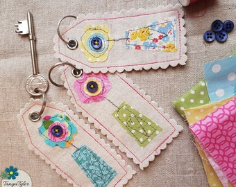 Key Ring, key chain,  Key Fob, Bag Charm, Original Fabric Art, textile art, machine embroidery